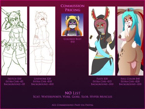Commission Price Sheet 2017-2018 by crimson-exe