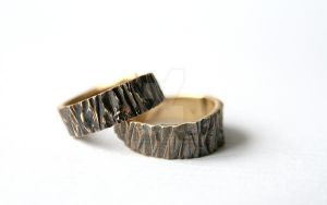 Tree bark engagement rings, brass by janes-addictions