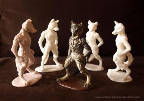 Anthro wolf sculpture (group photo) by Victoria-Poloniae