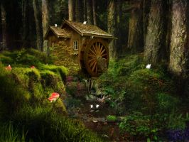 Water Mill Forest by lilleypants