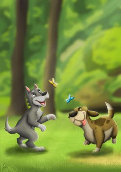 Dogs and Butterflies by elorathedino