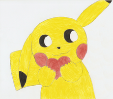 Pikachu with heart by Nejti