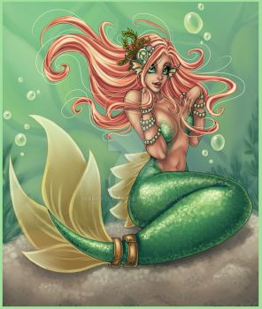 mermaid pinup by Harpyqueen
