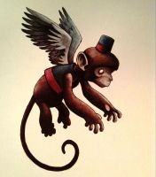 Flying Monkey watercolor by legumebean