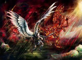Archangel and crystal dragon. HOMM 3 by TinToad