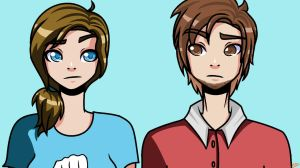 genderbend Pewds and Marzia by TheWarZonEGamer