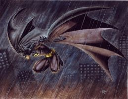 Batman Glide in Rain by edtadeo