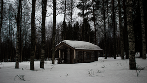 Small cottage in dark snowy forest // 4K Wallpaper by Aasikki