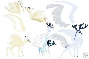 Male and Female Deer Swan Pegasus by dyb