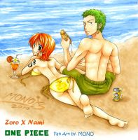 OP-Zoro X Nami on beach by MONO-Land