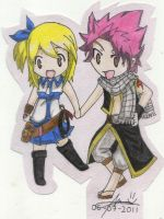 chibi natsu and lucy by fullb0dy