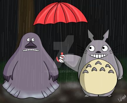 Marren and Totoro in the rain by oORinaOo