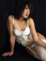 White Satin-Red Lips by Snapfoto