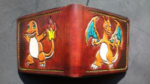 charmander and charizard leather wallet by Bubblypies