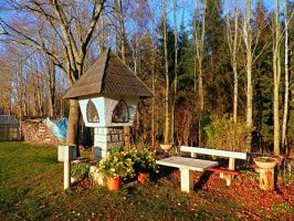 Wayside shrine and a bench by patrickjobst