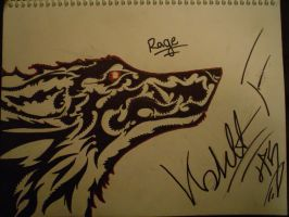 Rage tribal wolf by Crinickwolf