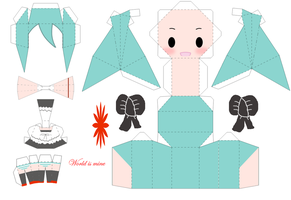 Chibi Miku world is mine papercraft template by daigospencer