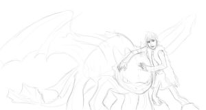 Hiccup and Toothless by onewingedtenchi