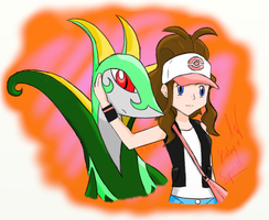 Trainer And Serperior by MidnightCharizard