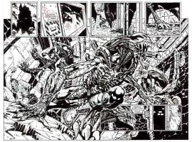Batman v Aliens 2 double page spread by StazJohnson