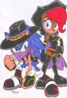 Dark Sonic and Sally by Yardley - Colored by dragonheart07
