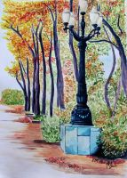 Park. Ukraine. Dnipropetrovsk. Watercolor. by AnQuirks