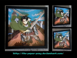 12 x 12 Attack on Titan Levi Ackerman Shadowbox by The-Paper-Pony