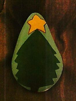 Christmas Tree Painted Rock by poempainter
