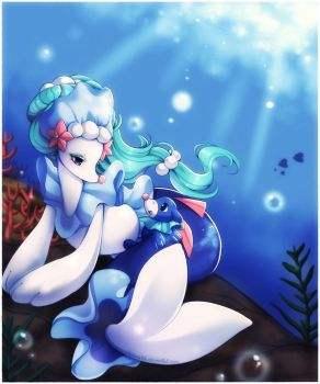 Primarina and Popplio by Midna01