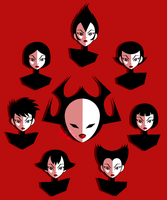 (SAMURAI JACK 2017) 7 Women, 1 Face by PinkCapPanda