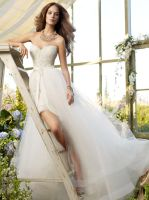 Lace Short Wedding Dress Tulle Overskirt by foxgowns