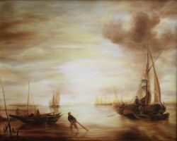 Dan Scurtu - Seascape after Jan Van de Capelle by DanScurtu