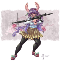 Hipster Rabbit with Machine Guns *colored* by CaptainMetal