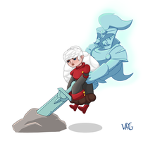 Aisling, the small angry sword child by VeryRedGir