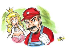 Mario and Peach by mitchatt