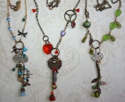 Steampunk Key Necklaces by elvenelysium
