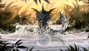 Water games with vaporeon by TellerySpyro