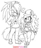 ..Swag Couple (lineart).. by LauryPinky972