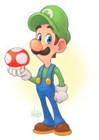 Luigi and a Mushroom by LuigiL