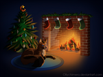 Commission - Cozy by the Fire by OllyChimera