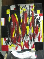Angry Painting, Red, Yellow, White and Black by InsanePaintStripes
