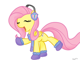 Fluttershy's winter dance shaded by NasseSeta