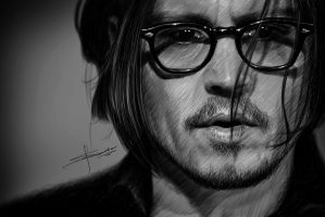 Portrait of Johnny Depp by S-A--K-I