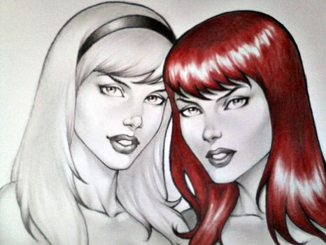 GWEN STACY AND MARY JANE, WIP !!! by carlosbragaART80