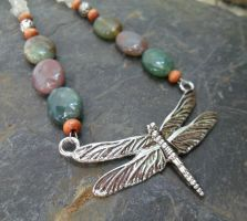 Energy Charged Fancy Jasper Dragonfly Necklace by spiritualturtle
