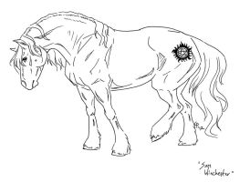 Equine Sam Winchester LINEART by SharysAogail