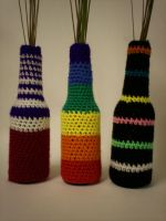 crocheted bottle covers by naeni