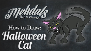 How to Draw a Halloween Cat by Mehdals
