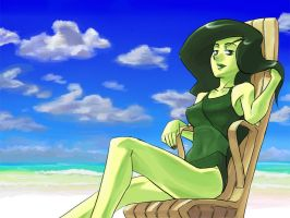 Shego in the beach by Dice-K
