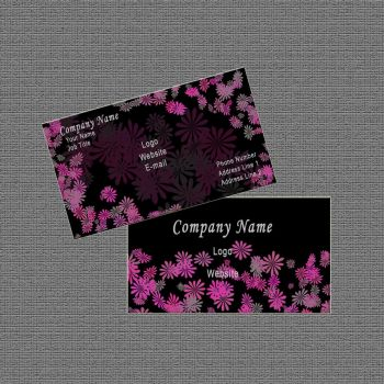 Business Card Design: Black/Pink Abstract Floral by Carmenole